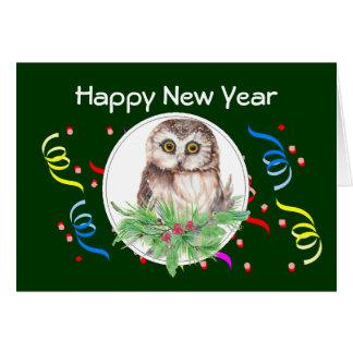 Feliz Año Nuevo, saludo lindo del pájaro del búho Tarjeta De Felicitación