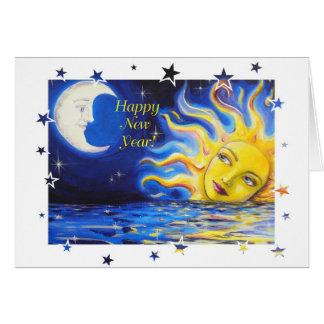 Feliz Año Nuevo tarjeta de cara celestial de Sun y