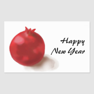 Feliz Año Nuevo - tarjeta roja de la diversión de Rectangular Pegatinas