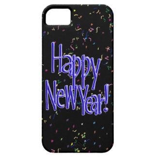 Feliz Año Nuevo - texto azul en confeti negro iPhone 5 Carcasas