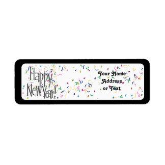 Feliz Año Nuevo - texto de plata con confeti Etiquetas De Remite