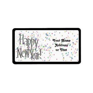 Feliz Año Nuevo - texto de plata con confeti Etiqueta De Dirección