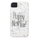 Feliz Año Nuevo - texto de plata con confeti Case-Mate iPhone 4 Carcasas