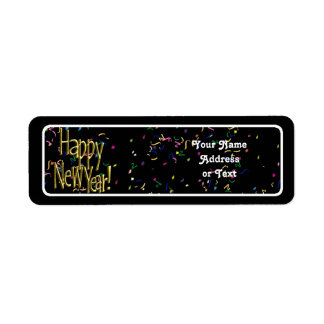 Feliz Año Nuevo - texto del oro en confeti negro Etiquetas De Remite