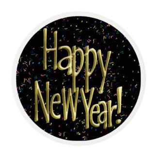 Feliz Año Nuevo - texto del oro en confeti negro Láminas De Glaseado Redondas
