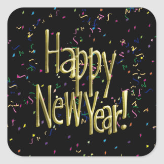 Feliz Año Nuevo - texto del oro en confeti negro Pegatina Cuadrada