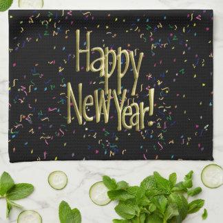Feliz Año Nuevo - texto del oro en confeti negro Toallas