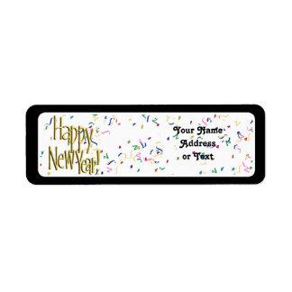Feliz Año Nuevo - texto del oro en el confeti blan Etiqueta De Remite