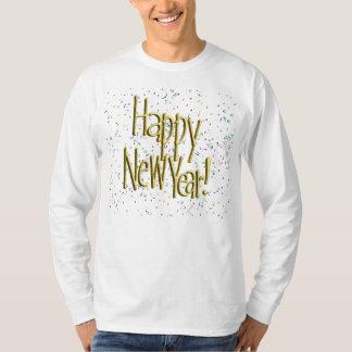 Feliz Año Nuevo - texto del oro en el confeti Remeras