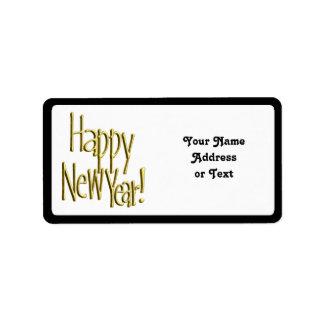 Feliz Año Nuevo - texto del oro Etiquetas De Dirección