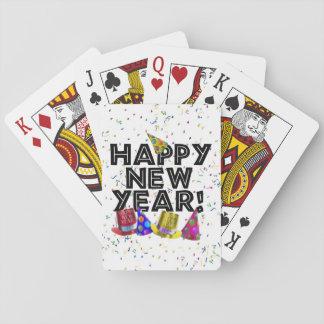 Feliz Año Nuevo - texto negro con los gorras del Cartas De Póquer