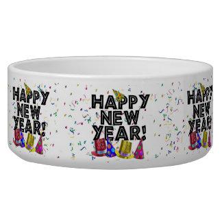 Feliz Año Nuevo - texto negro con los gorras del Comedero Para Mascota