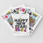 Feliz Año Nuevo - texto negro con los gorras del f Cartas De Juego
