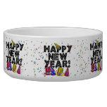 Feliz Año Nuevo - texto negro con los gorras del f Tazon Para Perro