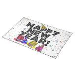 Feliz Año Nuevo - texto negro con los gorras del Manteles Individuales