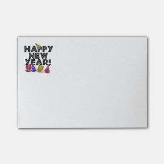 Feliz Año Nuevo - texto negro con los gorras del Notas Post-it®