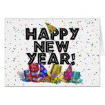 Feliz Año Nuevo - texto negro con los gorras del Tarjetón