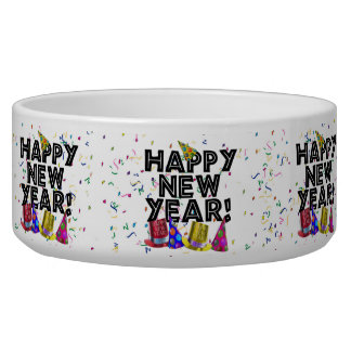Feliz Año Nuevo - texto negro con los gorras del Tazones Para Perro