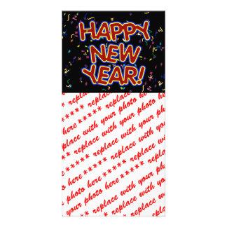 Feliz Año Nuevo - texto rojo de la diversión con c Tarjeta Personal Con Foto