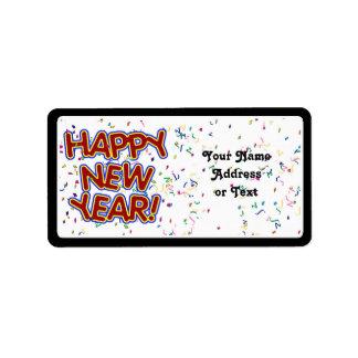 Feliz Año Nuevo - texto rojo de la diversión con Etiquetas De Dirección