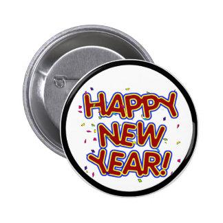 Feliz Año Nuevo - texto rojo de la diversión con Pin Redondo 5 Cm