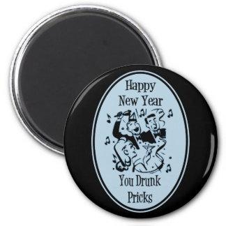Feliz Año Nuevo usted pinchazos bebidos azules Imán Redondo 5 Cm