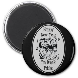 Feliz Año Nuevo usted pinchazos bebidos grises Imán Redondo 5 Cm