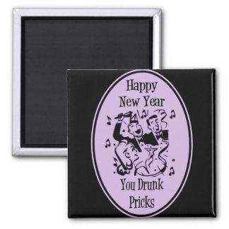 Feliz Año Nuevo usted pinchazos bebidos púrpuras Imán Cuadrado