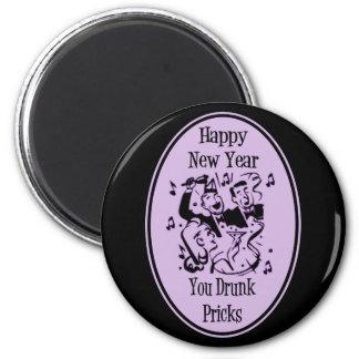 Feliz Año Nuevo usted pinchazos bebidos púrpuras Imán Redondo 5 Cm
