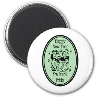 Feliz Año Nuevo usted verde bebido de los pinchazo Imán Redondo 5 Cm