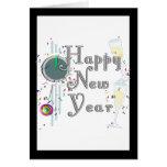 Feliz Año Nuevo - vidrios y reloj de Champán