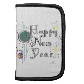 Feliz Año Nuevo - vidrios y reloj de Champán Planificadores