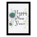 Feliz Año Nuevo - vidrios y reloj de Champán Tarjeta