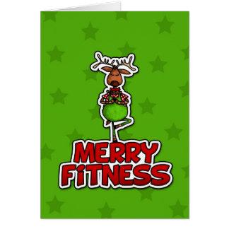 Feliz aptitud - yoga - reno en postura del árbol tarjeta de felicitación