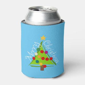 Feliz árbol de navidad (azul) enfriador de latas
