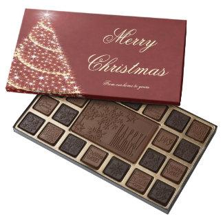 Feliz árbol de navidad caja de bombones variados con 45 piezas