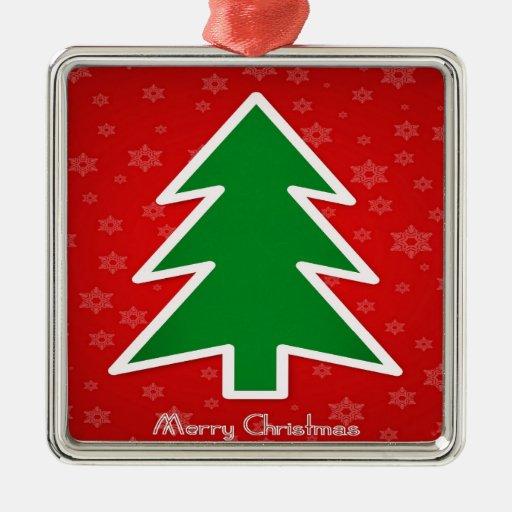 Feliz árbol de navidad con el fondo del copo de adorno cuadrado plateado