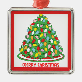 Feliz árbol de navidad con las luces multicoloras adorno cuadrado plateado