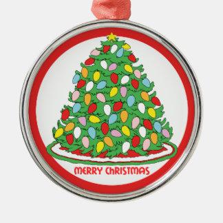 Feliz árbol de navidad con las luces multicoloras adorno redondo plateado