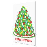 Feliz árbol de navidad con las luces multicoloras  impresiones de lienzo