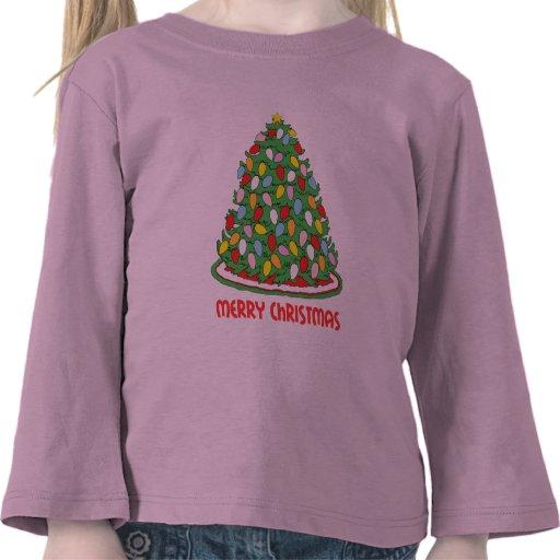 Feliz árbol de navidad con las luces multicoloras  camisetas