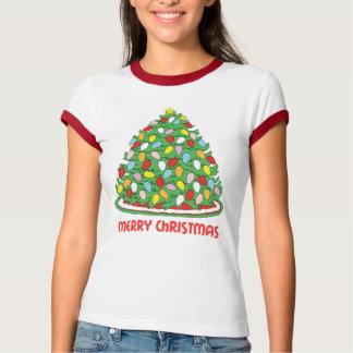 Feliz árbol de navidad con las luces multicoloras remeras