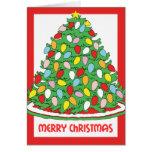 Feliz árbol de navidad con las luces multicoloras tarjeta de felicitación