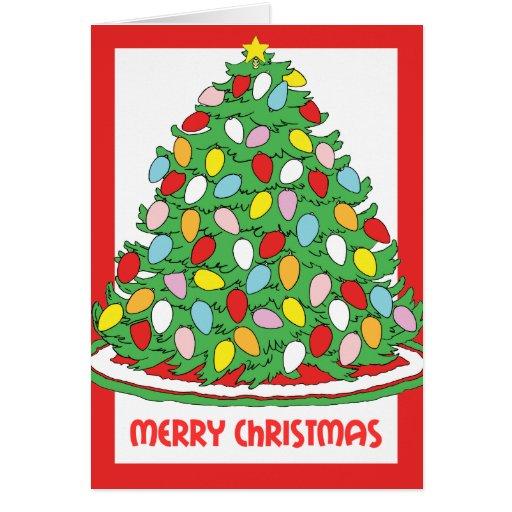 Feliz árbol de navidad con las luces multicoloras  felicitación