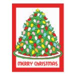 Feliz árbol de navidad con las luces multicoloras postal