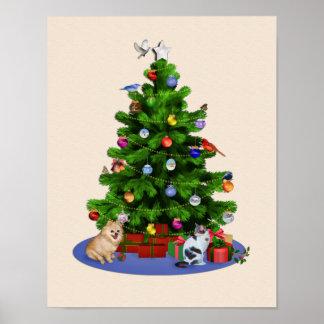 Feliz árbol de navidad con los pájaros, gato, póster