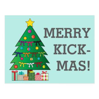 Feliz árbol de navidad de la correa de los artes postales