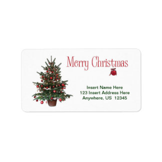 Feliz árbol de navidad etiquetas de dirección