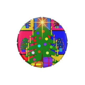 Feliz árbol de navidad latas de dulces