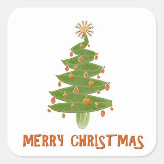 Feliz árbol de navidad pegatina cuadradas personalizada